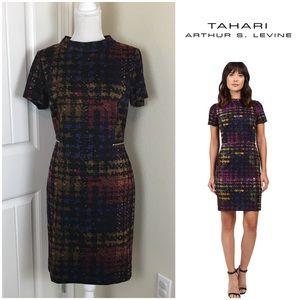 Tahari S. Levine Plaid Ponte Sheath Dress Sz 10